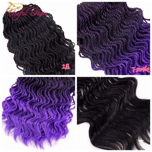 free shipping spring curl Pre-Twisted Senegalese Crochet Braids hair 16inch half wave kinky curly hair extensions synthetic braiding hair