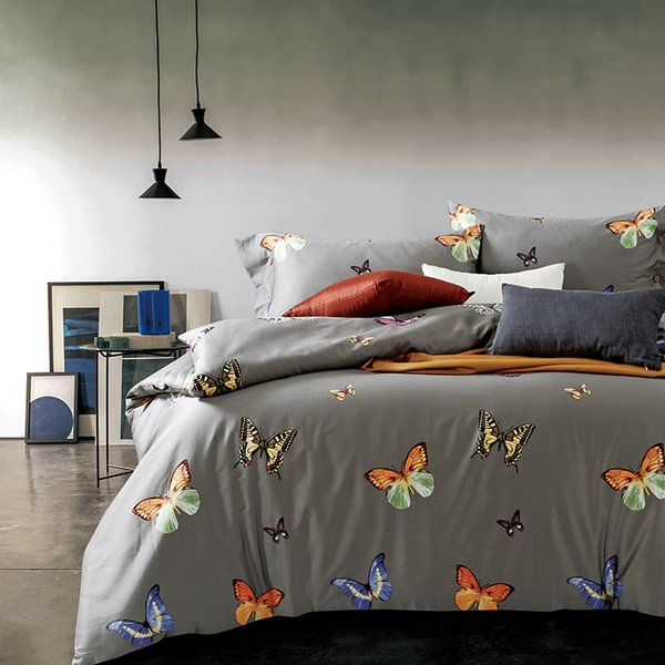 Fashion Gray Queen/King Size Bedding Sets Egyptian Cotton Bedlinens Customized Butterflies Duvet Cover+Flat Sheet+Pillow Cases