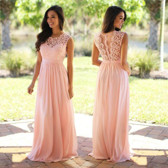 2017 Pink Chiffon Long Bridesmaid Dresses Lace Appliqued Bodice Pleats A Line Long Wedding Party Gowns Zipper Sheer Back