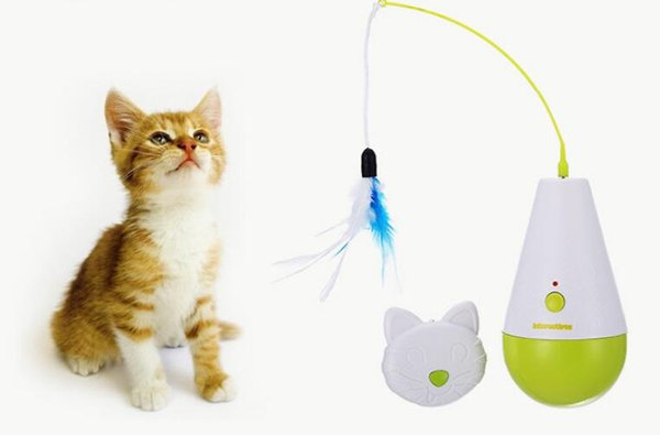 afp pet supplies cat toy tumbler electric control with fashing feather stick kitten activity toys interactive funny amazing cat toys animated cat toys from