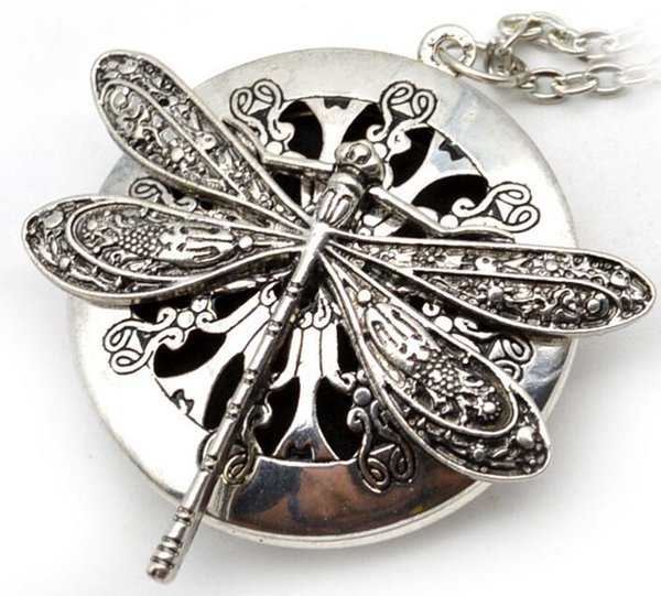top popular 5pcs Dragonfly Design Lockets Vintage Essential Oil Diffuser Necklace Aromatherapy Lockets Pendant For Christmas Gift EXL405 2019