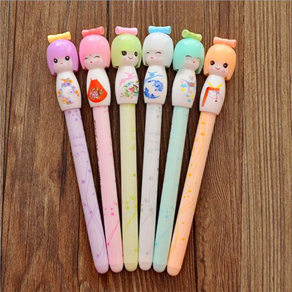 2017 Hot!Wholesale Kimono Japanese Girl Doll Gel Pen Writing Signing Stationery Creative Gift School Office Supply