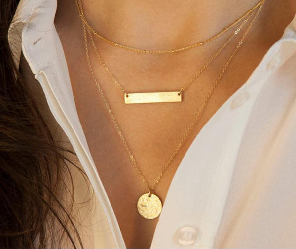 2pcs/lot Hot Fashion Gold Plated Fatima Hand 3 Layer Chain Bar choker collar Necklace Beads and Long Strip Pendant Necklaces Jewelry