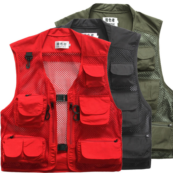 best selling Plus Size Multi Pockets Fishing Vest Summer Breathable Outdoor Hiking Photography Vest Waistcoat For Photographer VT-121
