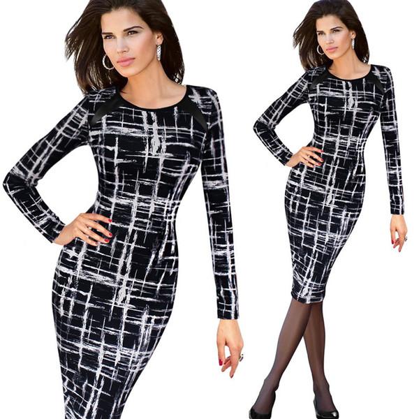 S-5XL Womens Fashion Sketch Long Sleeve Pencil Dresses For Women Graffiti Plus Size Knee Length Midi Bodycon Dress Full Sleeve