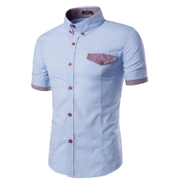 Men's Casual shirt Fashion Plaid pocket cover men's Short-sleeved shirt Slim Shirt Plus Size M-2XL 9068
