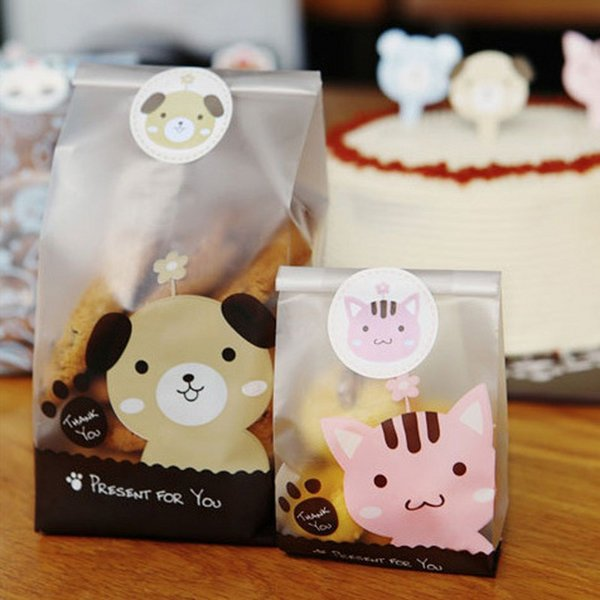 49pcs OPP Dog And Cat Pattern Candy and Cookie Baking Bags Side Gusset Bag Gift Pressent DIY Bread And Cake Packaging Bag B133 <$18 no track