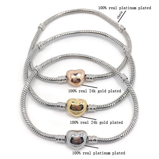 best selling Brand new high quality 100% plateinum plated snake chain & 100% 24k gold plated heart shape clasp bracelet fit fashion pandora bracelet DIY