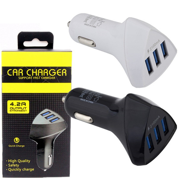 Cargadores de coche 3 Cargador de coche USB Adaptador de alimentación automático para iphone 7 8 Samsung s7 s8 teléfono Android gps mp3 con caja de venta al por menor
