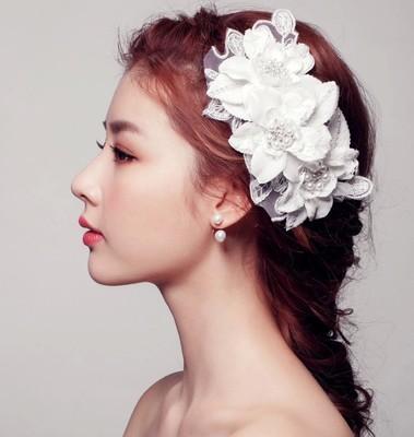 Wedding Bridal Handmade lace White Flowers Pearl Hair Combs Tiara Headwear Barrettes Wreath Headdress Hair Jewelry 2018 Hair Jewelry Accesso
