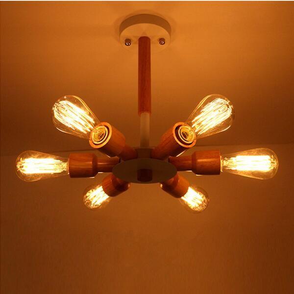 Nord Europa ha condotto la lampada in legno legno lampadario luci 3/6 teste lampada a sospensione ristorante illuminazione lamparas
