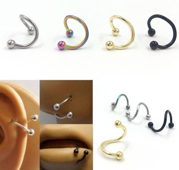 Punk Stainless Steel Nose Rings S Spiral Helix Ear Stud Lip Nose Ring Body Piercing Jewelry