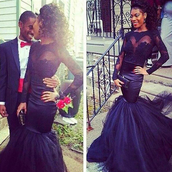 Fit and Flare Black Girl Prom Dresses Illusion Bateau Neckline Long Sleeves Lace Applique Mermaid Evening Party Gowns Soft Tulle Skirt