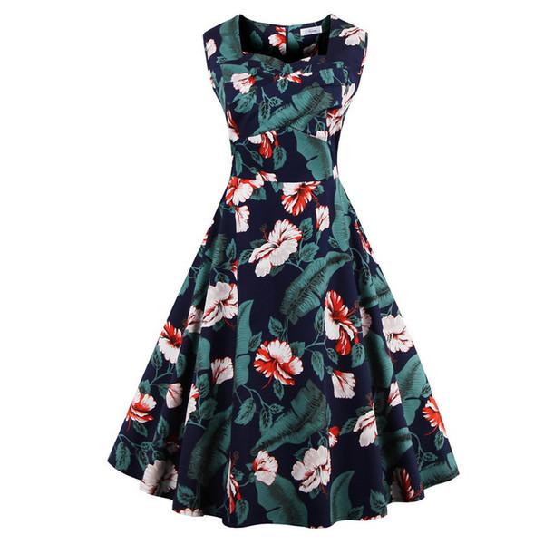 Plus size Summer Women Dress Audrey hepbum 50s Vintage Floral Print robe Retro Elegant Party Dress Feminino Vestidos DK3013MX