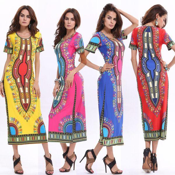 81072c0fd0c 2016 Summer Bohemian Long Dashiki Dress Women Traditional African Print  Dashiki Bodycon Dress Sexy Short Sleeve