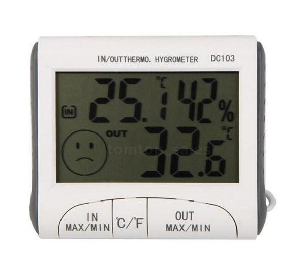 Uhr + LCD Digital Hygrometer Luftfeuchtigkeit Thermometer Temp Meter Outdoor Indoor w / Wired Externe Sensor Elektronische 2015 Neue DC103 H302008