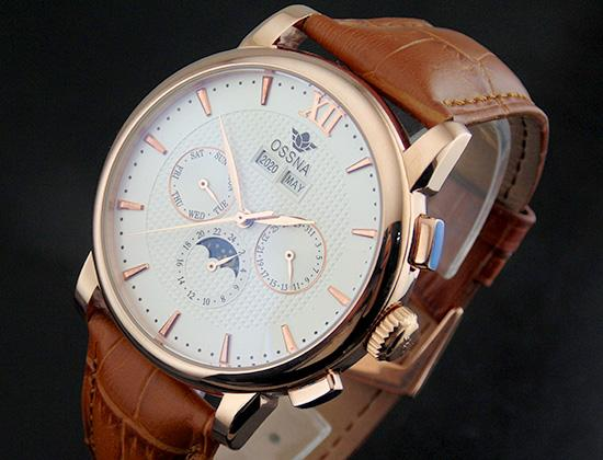 1652 Ossna 42mm Automatic Rose Gold Stainless Steel Case analog White Dial Moon Phase Mechanical Men's Watch