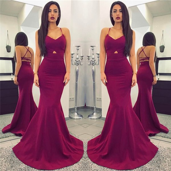 2018 Plum Prom Dresses Sexy Spaghetti Straps Mermaid Long Sleeveless Lace Up Backless Custom Made Evening Gowns With Front Hollow Out