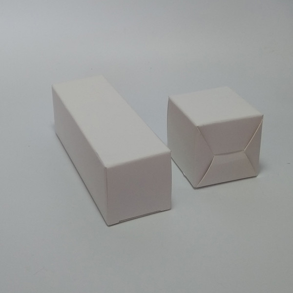 100pcs- 5*5*4/5/6/7/8/9/10/11/12/13cm Blank White 350gsm Paperboard Packaging Box for sample handmade soap party gift va
