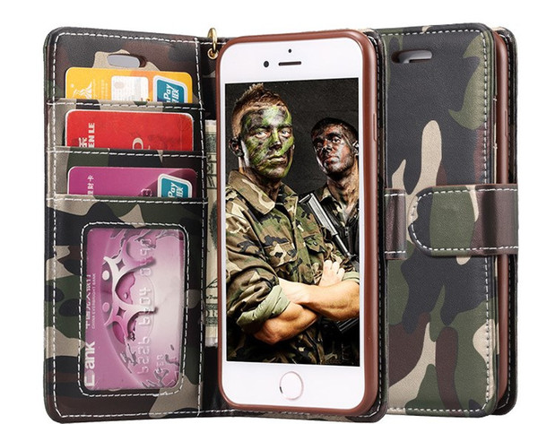 wallet case for iphone 7 6s plus galaxy s7 s6 note7 soft TPU+camouflage leather Protective hybrid cover case fold defender case holderGSZ115