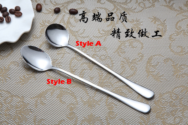 top popular New Stainless Steel Long Handle Spoon Coffee Latte Ice Cream Soda Sundae Cocktail Scoop Free Shipping 2019