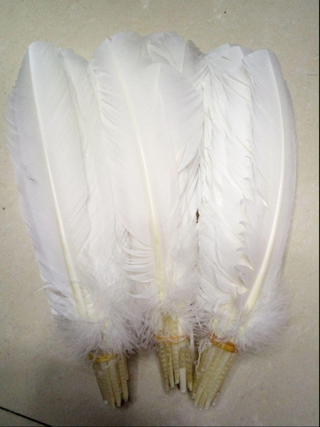 best selling Turkey Feathers White Turkey Round Quill Feathers 10-12inches 25-30cm