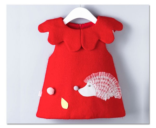 Hedgehog Christmas Sweater.Christmas Baby Girls Sweaters Infants Hedgehog Cartoon Falbala Doll Collar Vest Tops Toddler Kids Knitting Pullover Kids Clothing G1257 Baby Sweater