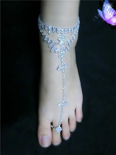Sexy donne di cristallo della sposa sandali a piedi nudi piede gioielli cavigliera catena sandalo da spiaggia con anello punta Toe Lady partito cavigliera nuziale accessorio nuziale