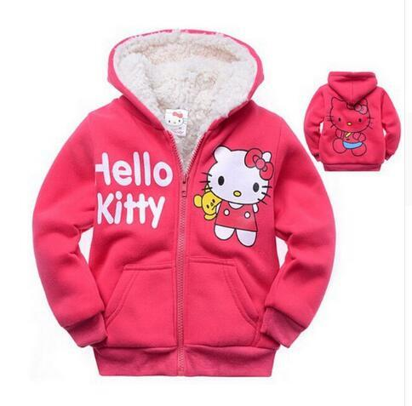 20341c5377 1 pc de varejo meninas do bebê dos desenhos animados hello kitty casaco de  pele de