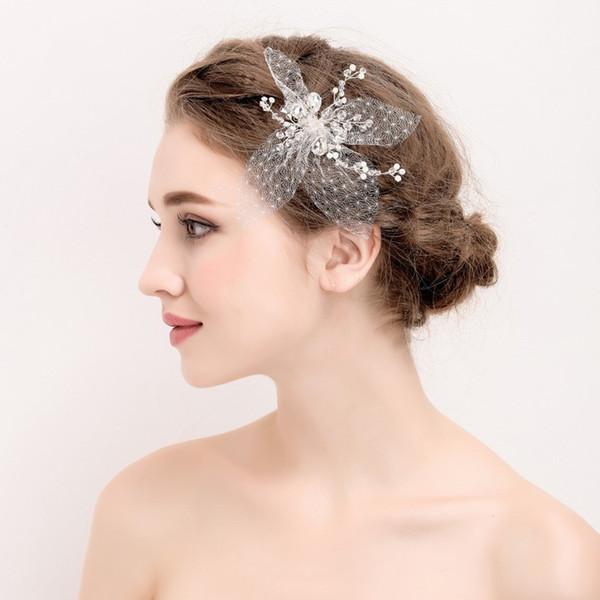 Fashion Lace Flower Hair Clips Crstal Bridal Hair Jewelry Comb Silver Wedding Accessories Headpiece Handmade Women Headwear