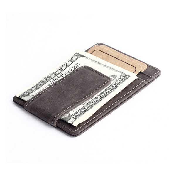Genuine Leather Money Clips Men Wallet Fashion Western Vintage Style Design Money Clip Wallets With Card Slots+Coin Pocket