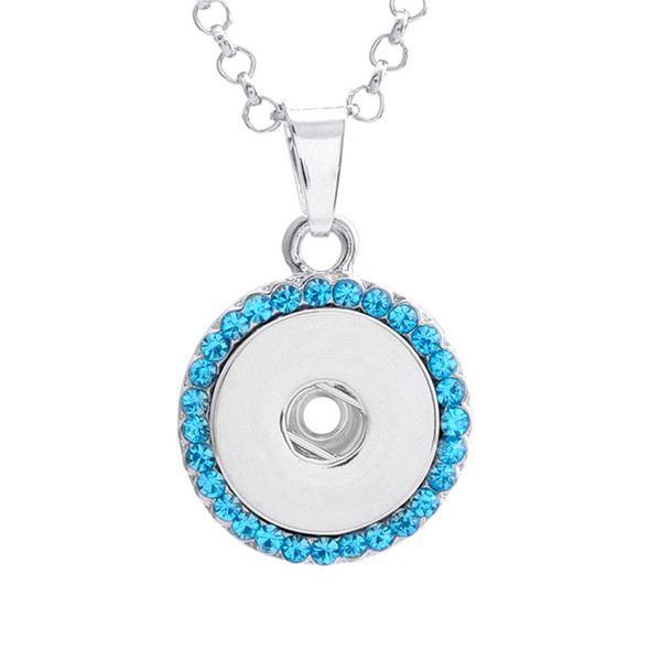 Alloy Snap Button Round Rhinestone Charm Pendant For Making DIY Jewelry Findings Fit 18MM Noosa Chunks