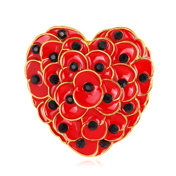 Ruby Red Enamel Heart Poppy Brooch Gold Tone Flower Remembrance Day Gift 2015 New DHL free shipping
