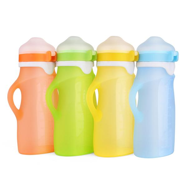 Reusable Silicone Baby Food Feeding Bottles 250mL Food Grade Yogurt Fruit Puree Complementary Food Pouches Feeder Bottle for Infant Toddlers