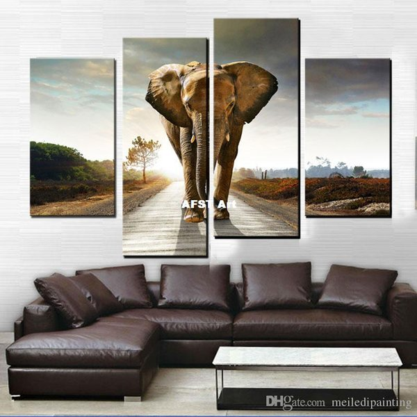 4 Picture Combination Elephant HD Canvas Mural Impression Art Canvas Paintings Home Decoration Painting Prints Frameless