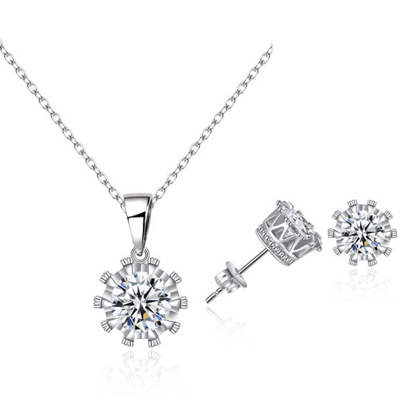 best selling 18K White Gold Plated Cupid Cut 8MM Zircon CZ Piercing Stud Earrings Chain Necklace Jewelry Sets for Women Girls Party Hot Gift