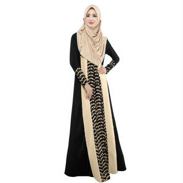 2016 Muslim Frauen Abaya Kleid O-Ansatz lange Hülse Maxi lose Kaftan hijab Abaya Art und Weise Dubai türkische Art-Kleider