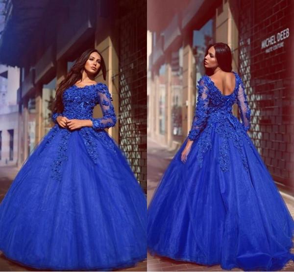 Robes glamour royal bleu robe de bal robe de Quinceanera robes fleurs Appliqued étage longueur dentelle Up manches longues robes de soirée de bal
