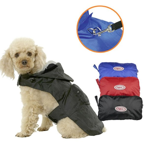 Pet Fashion Series Dog supplies Dog raincoats hooded Breathable mesh lining cloth waterproof soft fabric 3colors 7 sizes wholesale