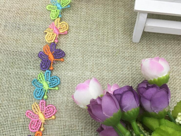 16 Yard Embroidered Multicolor Butterfly Lace Cotton Fabric Trim For Sewing Apparel DIY Bridal wedding Doll Cap