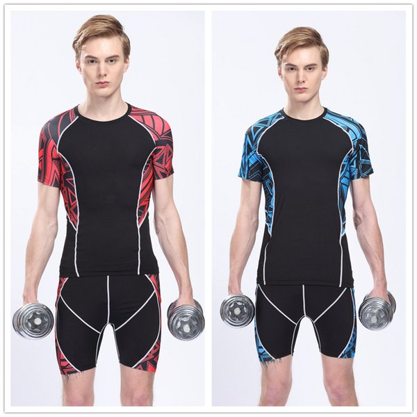 top popular Good quality men short sleeve sports wear set T shirt+shorts out door wears Tights fitness jersey running jersey 2 color t-shirt 2019