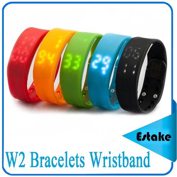W2 Bracelets fitbit Smart Wristband Watch Slim Bracelet Watches Wristband Rushed Step Fitness Tracker 3D Pedometer Sleep Monitor Thermometer