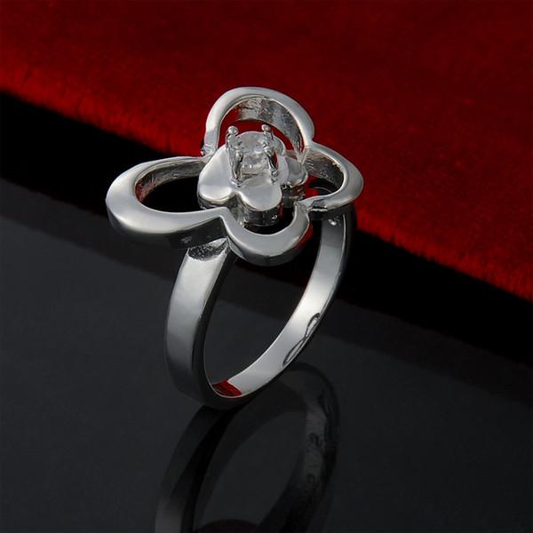 925 sterling silver banhado Anéis de cristal de borboleta do vintage anel de casamento declaração de jóias presentes para as mulheres meninas frete grátis