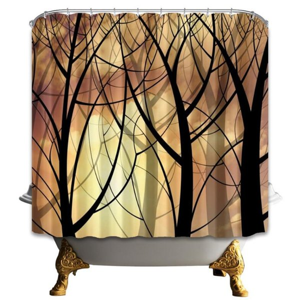 Forest Shower Curtain Cartoon Creative Bathroom Decor Waterproof Polyester Fabric Home Bath Accessories Curtains With Hooks 69 x 70 Inch