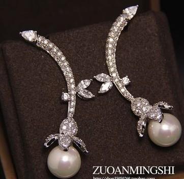 colorful High quality diamondl crystal l zircon pearls 925 silver lady's Earrining 7i7y
