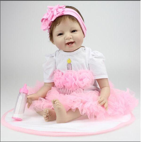 "22/"" Biracial Reborn Toddler Dolls Drak Skin with Pink Dress Xmas Gift for Girl"