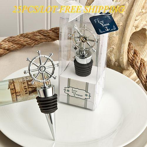 25PCS/lot Unique Wedding gift for guests of Love is a Voyage Ship's Wheel Wine Bottle Stopper Wedding Favors For Party Decorations Free ship