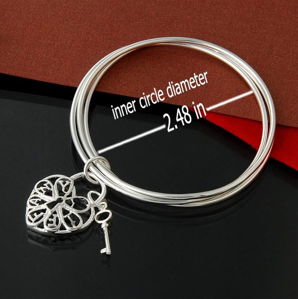 Factory direct wholesale 925 Sterling Silver three ring hanging heart key bracelets bracelets silver bracelet Jewelry Fashion