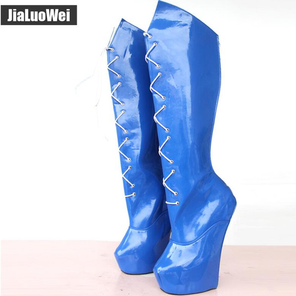 New Special-shaped Heel Hoof Heelless Women Knee-High Boots Back Zip Lace-up Sexy Blue Fetish Shoes Pony Platform Long Boot Extreme 20cm