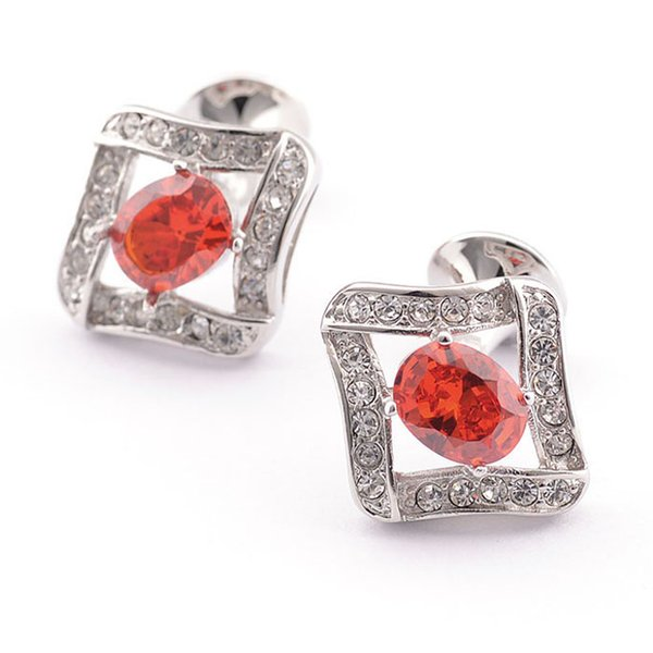 Free shipping Luxury HOT HOT shirt cufflink for mens gift Brand cuff button Red Crystal cuff link High Quality Jewelry 980012